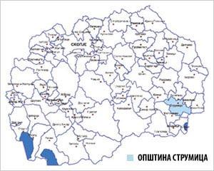 Мапа на Р.С.Македонија со потенцирана ликација на Струмица